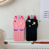 Cute Unicorn Pop it Relieve Soft Silicone Telephone Cases Bubble Phone Case For iPhone 12 11 Pro Max X XR XS 6 6s 7 8 Plus