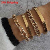 Bangle 2021 Chain Glossy LOVE Open Bracelet Four-piece Set Birthday Travel Wedding Gift Anniversary Drop