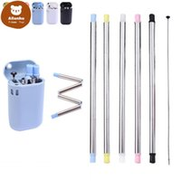 Folding Silicone Straw Set BPA Free Silicone Straw Metal Durable Straws Reusable Straight Stainless Steel Folding Drinking Straw Accessories wqa
