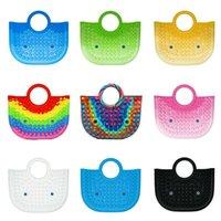 Büyük el çanta fidget oyuncaklar silikon itme kabarcık çanta gökkuşağı puzzle basın poo-onun çanta kravat boyalı katı renk çanta anne alışveriş çantası