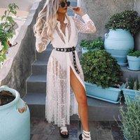 Casual Kleider 2021 Frauen See-Tuch-Tupfen-Mesh-Kleid Mode-Langarm-Revers-Hemden-Damen-Abdeckungen