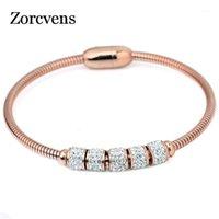 ZORCVENS 2020 New Fashion Crystal Magnetic Bangle For Women Stainless Steel Charm Bracelet Bangles1