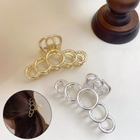 Elegant Hair Claw Clamps For Women Gold Metal Geometric Circle Temperament Catch Ponytail Clip Hair Accessories