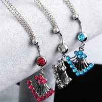 Navels Pendant Rings Auniquestyle Women Sexy Rhinestone Navel Piercing Bar Body Jewelry Bohemia Waist Chain Belt Belly Button Ring 1252 B3