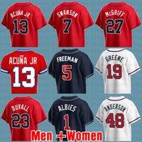 Marcell Ozuna Baseball Jerseys 13 Ronald Acuna Jr. 5 Freddie Freeman 7 Dansby Swanson 1 Ozzie Alventos Mike Soroka Jerseys