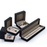 Oirv Luxury Black Touch Paper Bracelet Case Långkedjan Smycken Förvaring Arrangör Presentpaket Lätt Guld Silk Fabric