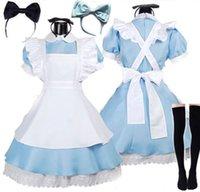 Thema KostümHalloveen Frauen Erwachsene Anime Alice Adventure Blue Party Kleid Alice Traum Frauen Sissy Maid Lolita Cosplay Kostüm