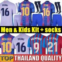 20 21 FC BARCELONA camisetas de fútbol KUN AGUERO barca ANSU FATI 2020 Messi GRIEZMANN DE JONG Conjunto de camiseta de futbol Hombres Mujer Kit para niños uniformes