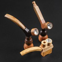 Wood Hand Smoking Pipe 2 Function Herb Tobacco Hammer Spoon Cigarette Filter Water Pipes Hookahs Tools Accessories 3 Styles Choose