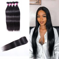 Peruvian Remy Extensions Straight Brazilian Human Hair Bundles With Closure 4pc Body Water Loose Deep Wave for Women All Ages Natural Black