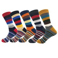 Men's Socks Calcetines Hombre Pack 5 Warm Cotton Stockings Men Thick Winter Fashion Striped Sports Rainbow