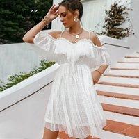 Simplee Holiday White Whoyka Dotka Вышивка Spaghetti платье кружева V-образным вырезом A-Line Пляжные платья Белое Высокое талию Платье Vestidos 210309
