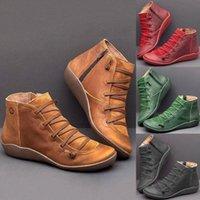 Лазарровавая зимняя обувь женщина 2019 удобные повседневные плоские сапоги кожаные ботинки Femme для зимы осень Щитники zip женские сапоги черный ankl l68w #