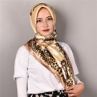 Scarves Fashion Hijab Scarf For Women Print Silk Satin Hair Scarfs Kerchief 90*90cm Square Neckerchief Headband Ladies 2021