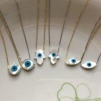 ماركيز / الأزرق جولة / الأسماك / همسا الزرقاء القط العين ممسحة شل مع 925 فضة مجوهرات بندان سلسلة chocker سحر قلادة 0208