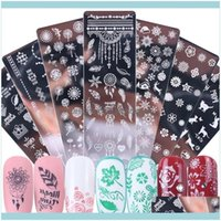 Abziehbilder Salon Gesundheit SchönheitNail Stamping Platten Aufkleber Weihnachten Schneeflocke Blatt Blumen Schmetterling Katze Nail art Stempelvorlagen Schablonen D
