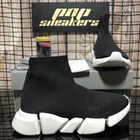 أعلى جودة أزياء المرأة أزواج السرعة 2.0 أحذية رياضية الرجال النساء المصممين الفاخرة الأحذية الثلاثي الأسود منصة الجوارب عارضة الأحذية