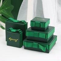 1 unid Dark Green Bow-Knot Regalo caja de embalaje DIY Anillo Joyería Pendiente Decoración Bolsa de regalo
