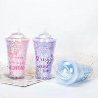 Cartoon Double Layer Bottles Mug 15oz 450ml Plastic Dream Tumbler Reusable Clear Drinking Flat Bottom Cup Pillar Shape Lid Straw Mugs Bardian UV Wholesale