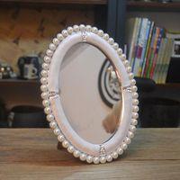 Frames Europese stijl enkelzijdige zilver wit westerse kam make-up prinses spiegel decoratieve parel