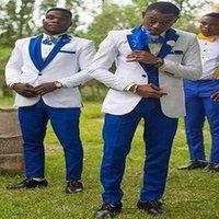 Men's Suits & Blazers White Groom Tuxedo With Royal Blue Lapels For Man 3-Piece Suit Prom Jacket (Jacket + Pants Tie Vest)