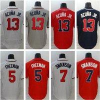 2020 2021 Атланта Джерси 13 Рональд Акуна JR Jersey 5 Freddie Freeman 7 Dansby Swanson 24 Deion Sanders Мужчины Braves Бейсбол Джерси 05