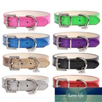 Dog Collars & Leashes Creative Rhinestone Heart Shiny PU Leather Pet Collar Diamond Button Noble Neck Strap For Dogs Cats Supplies1