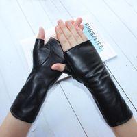 Cinq doigts Gants Bickmods Femmes Femmes Mode Longue Véritable En Cuir Noir Mouton Black Drive Spring sans doigts et automne