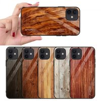 Wood Grain Tempered Glass Cover TPU Phone Cases For iPhone 13 Pro Max 12 Mini 11 XR 8 Plus Samsung S20 S21 Ultra Note 20