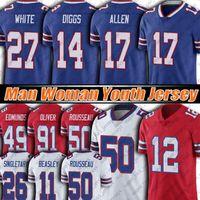 "17 Josh Allen 14 Stefon Diggs Jersey Tredávia Branco Cole Beasley Gregory Rousseau Futebol Jerseys Jim Kelly Buffalo ""Bills"" Oliver Poyer Hyde Moss Edmunds"