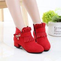 Обувь для девочек Зима 2021 Новый универсальный корейский детский весна и осень Мартин сапоги на высоком каблуке британский стиль