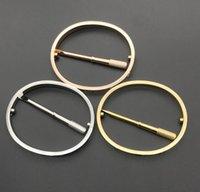 2021 Любовный браслет Браслеты Женщины Мужчины 4Cz Титановый стальной винт отвертки Браслеты золотые серебряные розовые браслеты для ногтей ювелирные изделия с бархатной сумкой