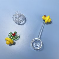 Smoking Accessories UFO Yellow Duck Cactus Plant Glass Dabber Carb Cap Covers For Water Bong Quartz Banger