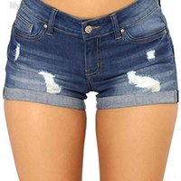 Summer Woman's Denim Shorts Cotton Flanging Plus Size Jeans Women Pants Breeches Overalls Vintage Female Torn Trousers