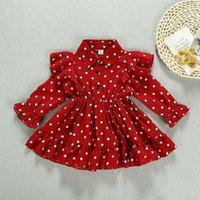 Blotona 크리스마스 유아 아이 아기 소녀 옷 프릴 스윙 드레스 폴카 도트 파티 드레스 1-7Y Q0716