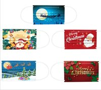 50pic set Christmas face masks Disposable Mix Adult mask  FaceMasks Non-Woven Print Anti-Dust snowman Mouth Cover 2021