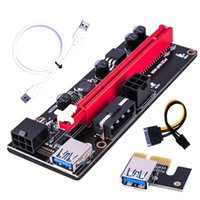 Svart PCIe Riser Ver 009S Card PCI E 1x 4x 8x 16x Extender USB 3.0 Kabel SATA till 6pin Molex Adapter för BTC Mining