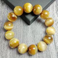 Con cuentas, hebras encantos oro tigre ojos pulseras homme natural piedra cuentas pulsera para mujeres hombres hechos a mano joyería de alta calidad