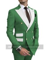 Men's Suits & Blazers Double Breasted Prom Wedding Groom Suit Set Tailored Men Jacket Pants 2 Pieces Tuxedo Slim Fit Green Male Marriage