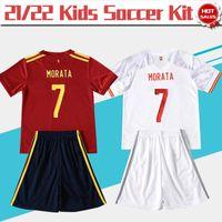 # 7 Morata Soccer Jersey Kids Kit 2021 ## 11 F.TORRES Home Red Child Soccer Shirt 21/22 # 8 Koke # 10 Thiago بعيدا الأبيض