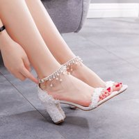 Sandals Crystal female fashion queen seven thick heels high white bride sandals pearl free wedding shoes RNIS