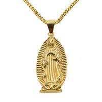 """Petit Dieu Sainte Mère Mère Vierge Marie Charme Pendentif Jaune Or Couleur d'or avec 24 """"Cuban Curb Chain Collier pour hommes Femmes"""