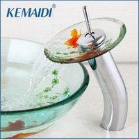 Смесители раковины ванной Kemaidi Tap Mixer Faucet Goldfish дизайн Chrome латунь прозрачный закаленный стеклянный водопадный водой