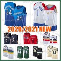 Джаннис 34 Antetokounmpo Джерси Сион 1 Уильямсон Джерси Лонгзо 2 Ball Ray 34 Allen Green Mens 2020 2021 Новый баскетбольный майки