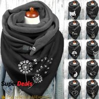 Scarves 2021 Fashion Women Animal Cat Printing Button Soft Wrap Casual Warm Shawls Foulard Femme Winter Scarf