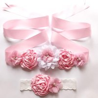 Belts Fashion Satin Fabric Flower Ribbon Belt Lace Elastic Headband Set Women Girls Dress Sash Pographic Prop Waistband Accessories