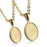 Pendentif Colliers Megin D en acier inoxydable Titanium Gold Saint Vierge Mère de Dieu Maria Collier de chaîne Collier Vintage pour hommes Femmes Joathr
