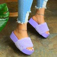 Büyük Muffin Kalın Soled Düz Topuk Peluş Terlik Renkli Bir Çizgi Bayan Ayakkabıları