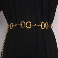 Vintage Oro Carta de Declaración Cadena Cadena de Cadena Metal Lujo 2021 Mujeres Cintura Cinturón Vestido Cadena Jean Cinturón Europeo Cinturon