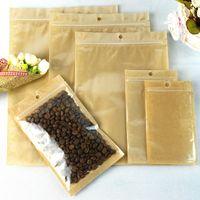 12 Tamaño Claro Kraft Papel Selectos Selectos Selectos Selectos Resellable Bolsas de envasado de alimentos para tuercas de té Embalaje de frijoles con Hang Hole LX3549